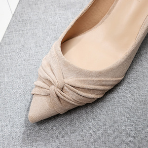 Image 5 - 2020 Shoes Woman Slip Ons Small Cat Thin Med Heels Pumps Solid Flock Bowtie Butterfly knot Office Lady Elegant Sexy Wedding Pump