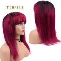 T1B/118 Omber peruki z ludzkich włosów peruka z prostymi włosami z Bang dla czarnych kobiet T1B/27 blond 99J bordowy 1B /118 czerwone nie Remy peruka