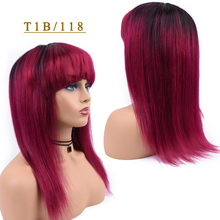 T1B/118 Omber Human Hair Wigs Straight Hair Wig With Bang For Black Women T1B/27 Blonde 99J Burgundy 1B/118 Red Non Remy Wig amazing star t1b 99j 18 дюймов