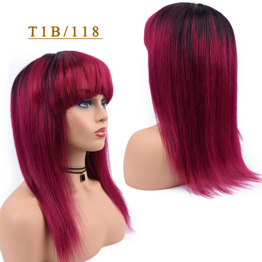 T1B/118 Omber Human Hair Wigs Straight Hair Wig With Bang For Women T1B/27 Blonde 99J Burgundy 1B/118 Red Colored Human Hair Wig