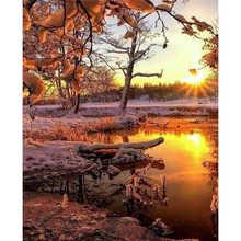 Живопись По Номерам Раскраски Рамки Домашний Декор Картины Пейзаж Дерево Цветок Украшения
