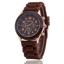 2020 Geneva Fashion Luxury Brand Women Watch Silicone Strap Simple Pin Buckle Ladies Clock Quartz Wrist Watches relogio feminino