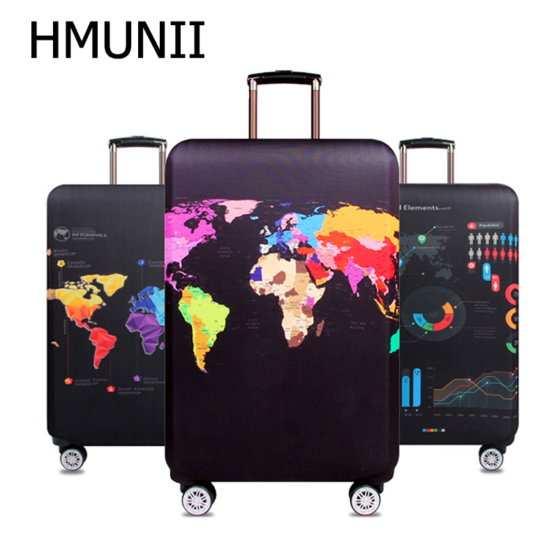 HMUNII World Map Travel Luggage Suitcase Protective Cover Trolley Baggage Bag Cover Men's Women's Elastic Case For Suitcase