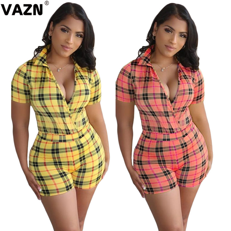 VAZN пикантные красивые 2020 летние пикантные женские желтый светильник В красную клетку узкие легкий костюм с шортами с V образным вырезом и короткими рукавами, элегантный костюм для подвижных игр на каждый день легкий костюм с шортами Комбинезоны c шортами      АлиЭкспресс
