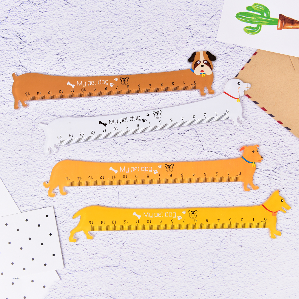 New Kawaii Cute Lovely Puppy Dog Plastic Straight Ruler Study Student Stationery School Supply Promotion Gift