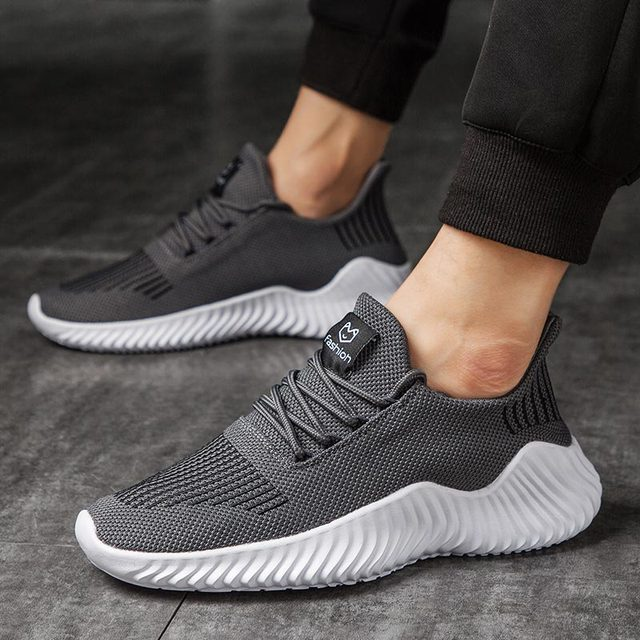 Large Size Breathable Men's Sneakers Mens Shoes Sports Shoes Sport Mens Running Shoes Mens Trainers Gray Workout Athletic E-366