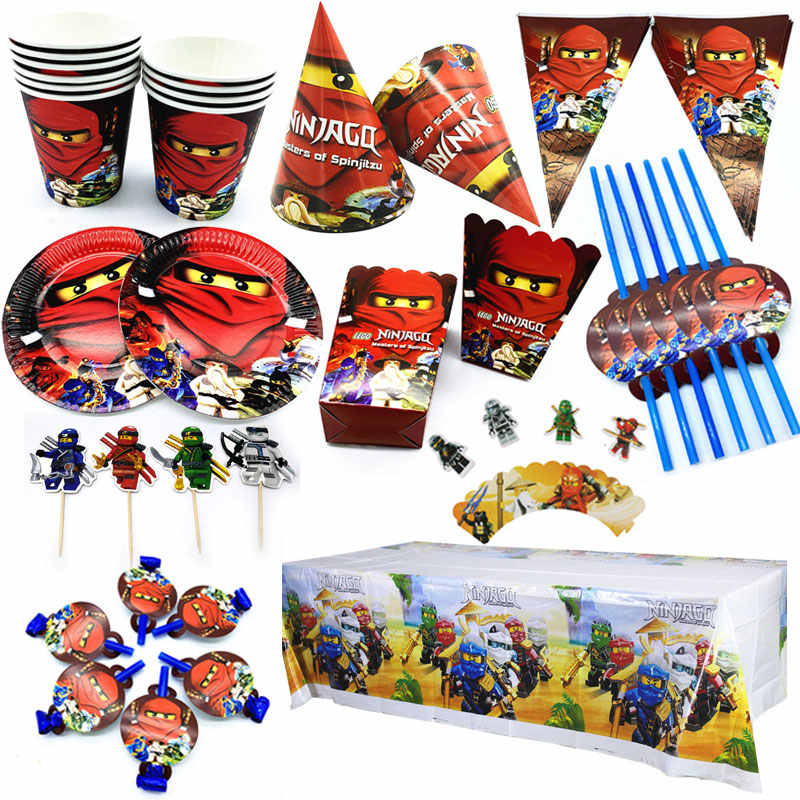 Legoing Ninjagoing Theme Party Decoration Ninja Tableware Paper Cups Plates Hats Baby Shower Banner Kids Birthday Party Supplies