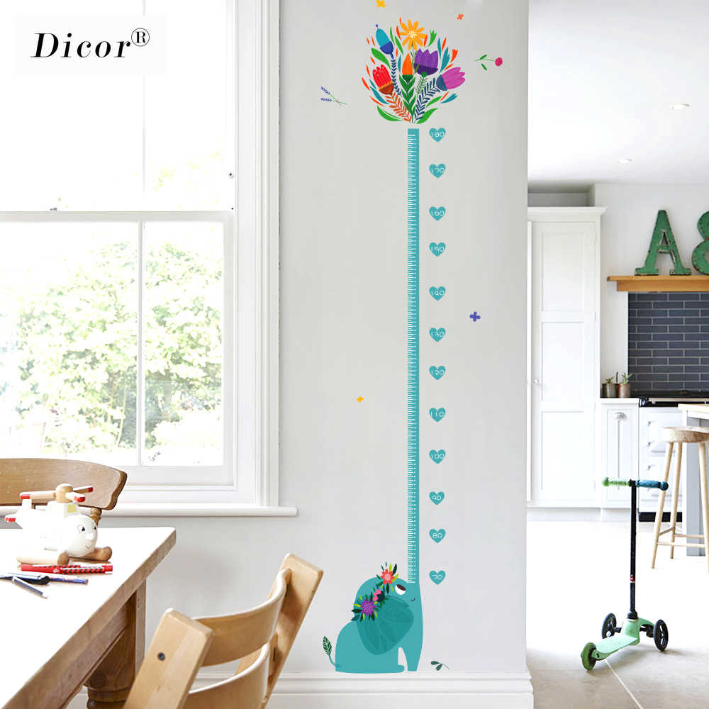 Genuine Dicor Kawaii Elephant Cartoon Wall Stickers For Kids Rooms Baby Zimmer Deko Height Measure Wall Decals Pvc Self Adhesive Wall Stickers Aliexpress