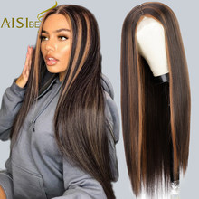 AISI BEAUTY Synthetic Wigs Brown Mixed Blonde Synthetic Wigs for Women Middle Part Balck Blonde Natural Hairline Wigs