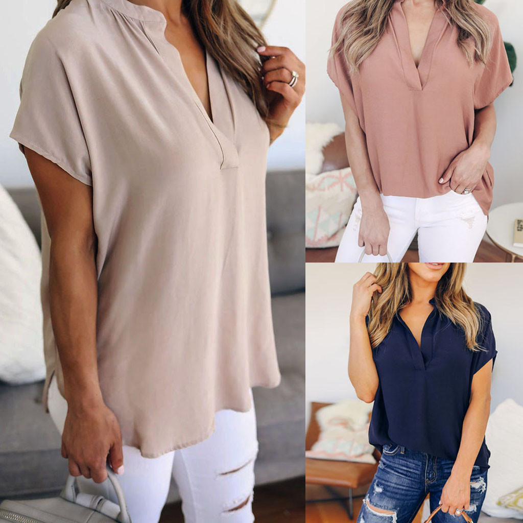 Summer Solid Chiffon Plus Size S-5XL Women Ladies Sexy V-Neck Short Sleeve Casual   Shirt   Tops   Blouse   Wholesale best selling