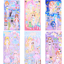 3pcs/lot Cartoon Dress up Stickers girls Fashion 3D bubble sticker waterproof children toys gifts