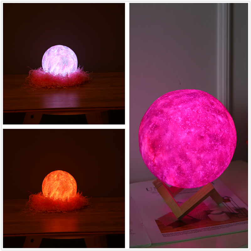 Creative Gift 3D Printing Star And Moon Lamp Colourful Change Tactile Decorator Gift Creative USB LED Night Light Galaxy Lamp