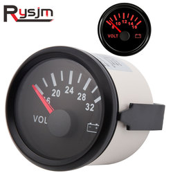 waterproof 52mm voltmeter car volt gauge meter 16-32V 8-16V With red backlight for boat automobile motor yacht motorcycle clock