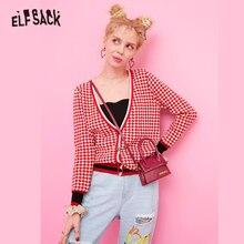 ELFSACK 赤コントラストトリムストライプフリルチェック柄かわいいカーディガンセーターの女性の服 2019 秋韓国のプレッピースタイルの女性のセーター