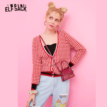 ELFSACK Red Contrast Trim Striped Ruffle Plaid Cute Cardigan Sweater Women Clothes 2019 Autumn Korean Preppy Ladies Sweaters