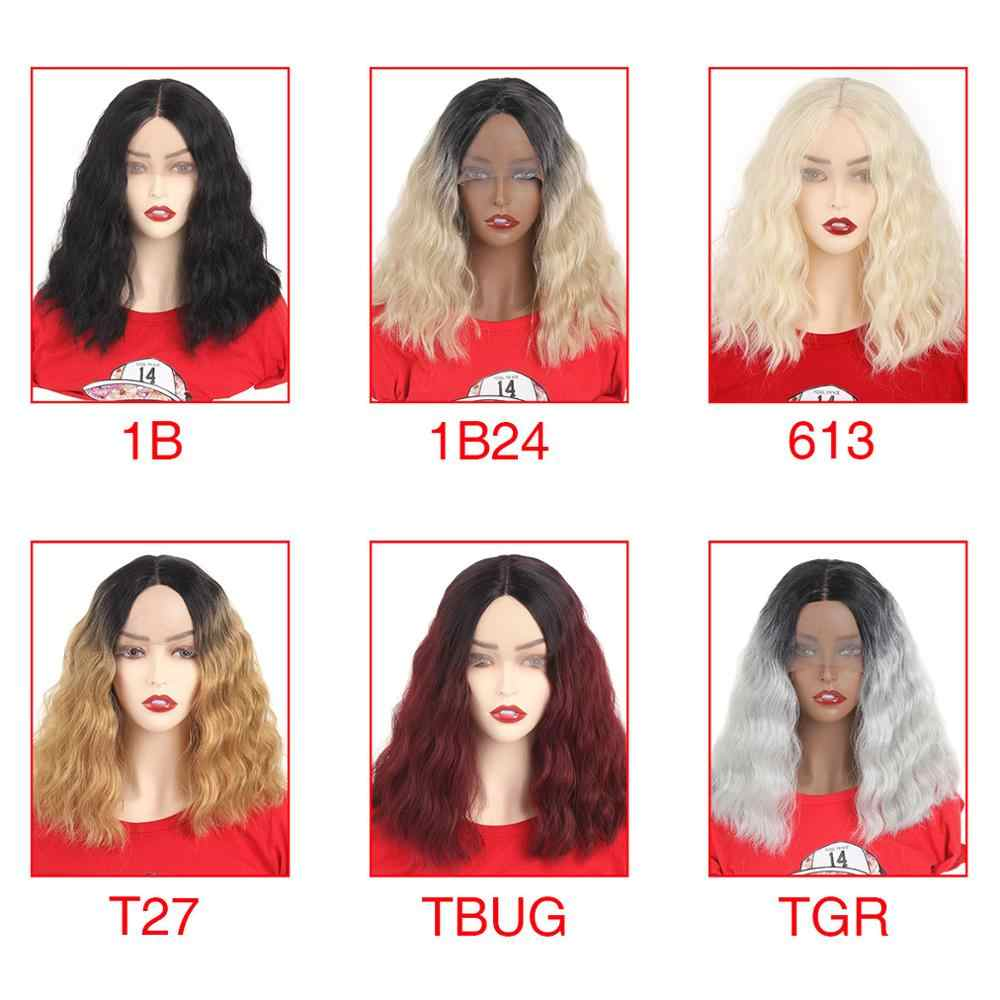 Синтетический волнистый парик Xtrend, кружевные передние волосы с коротким ворсом, 14 дюймов, черный, коричневый, красный, Омбре, женские регулируемые термостойкие волосы
