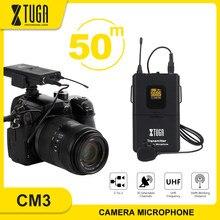 Xtuga sem fio lavalier microfone profissional uhf câmera microfone com 30 canais selecionáveis para câmera slr, dv, filmadora