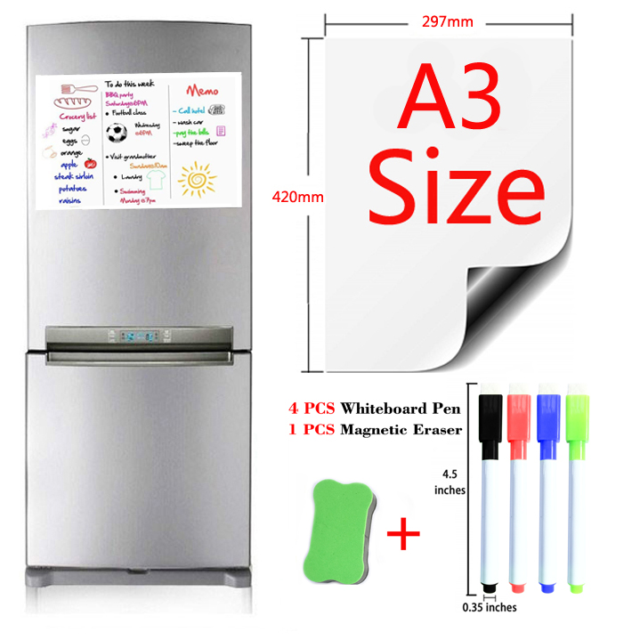 Magnetic Whiteboard Dry Erase White Board Drawing Writing Bulletin Board Fridge Stickers Kid School Office Gift 4 Pen 1Eraser