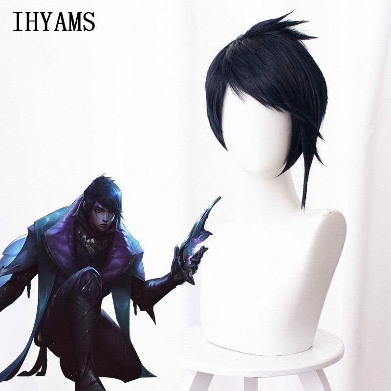 Aphelios Wigs Men's Navy Blue Short Cosplay Wigs Synthetic Costume Halloween Party Wigs Hair + Free Wig Cap