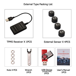 Auto Tpms Voor Android Usb Bandenspanningscontrolesysteem Navigatie Display Draadloze Auto Tyre Druk Alarm