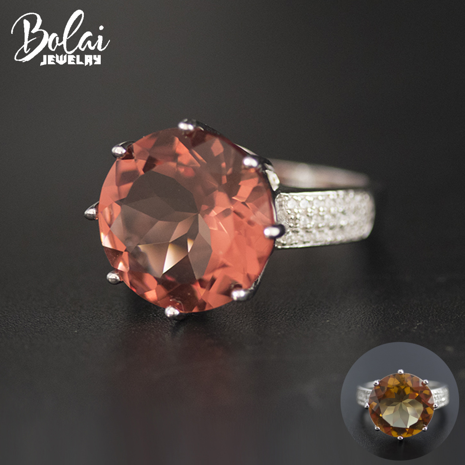 Bolai Big Round 15mm Sultanit Ring 925 Sterling Silver Color Change Nano Diaspore Gemstone Jewelry Bold Ring For Women 11.11