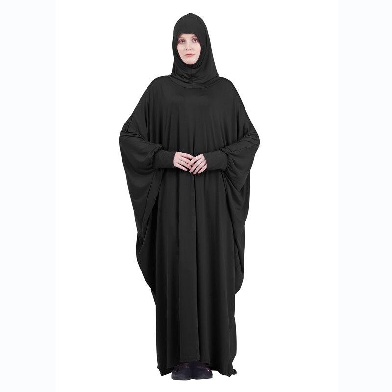 Arab Free Size Lady Abaya Islamic Loose Solid Robe With Hijabs