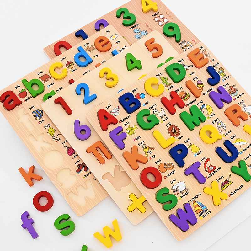 2020 New 0-3 Age Wooden Montessori Toys Early Education Puzzle English Alphabet learning ABC Baby Toys Children's Letter Board