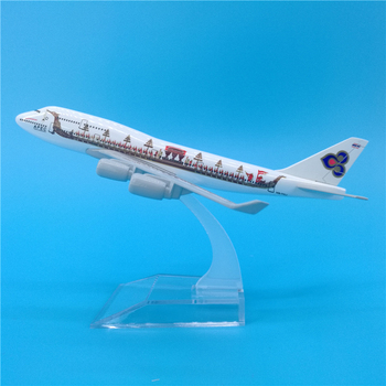 16cm Thai Aircraft Dragon Boat Boeing 747 Metal Airplane Model Decoration Thailand B747 APEC Theme Collector's Edition Painting image
