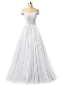 Image 4 - Angelsbridep Short Sleeve Tulle Long Evening Dress 2020 Strapless Pleat Womens Dress Vestidos De Festa Formal Party Gown Lace up
