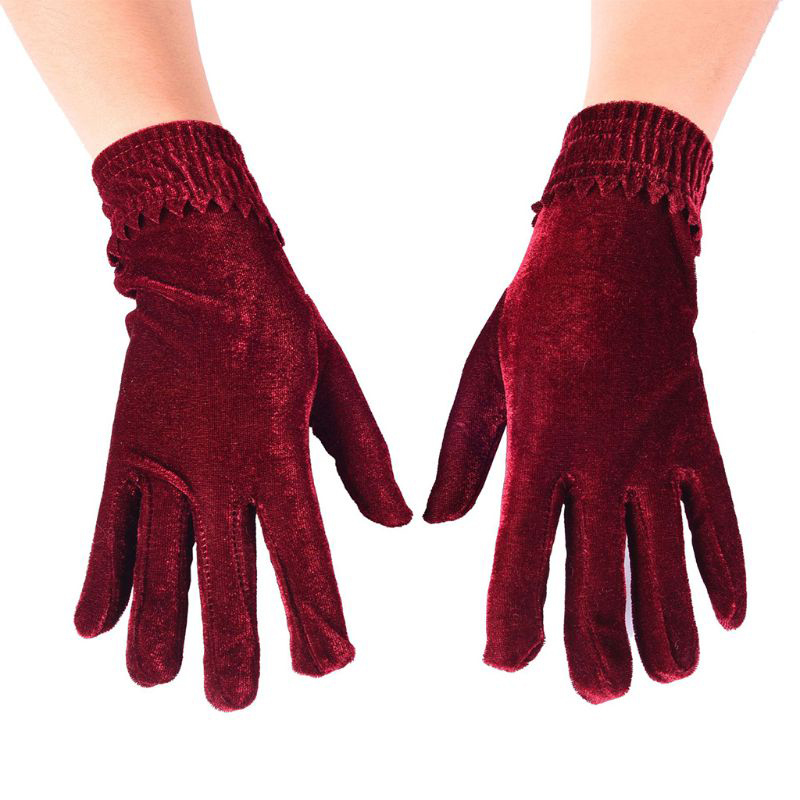 1 Pair Velvet Elastic Gloves Winter Women Warm Soft Thermal Comfortable Mittens Short Wine Red Crimson Gloves Christmas Gifts