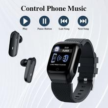Novo s300 smart watch men earbuds com bluetooth fones de ouvido smartwatch música esportes exercício executar dois em um para android ios