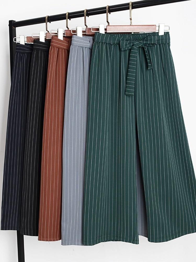 Striped Lady Wide Leg   Pants   Women Summer Beach High Waist Trousers Chic Streetwear Belt Sash Casual   Pants     Capris   Female