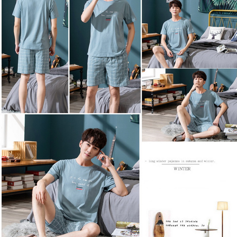 Men's Pajama Sets Summer Man Pajamas Set Simple Sleepwear Short Sleeve Cotton Pajamas For Men Short Top Pant Leisure Outwear