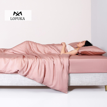 Lofuka 100% Silk Pink Bedding Set Beauty Healthy Duvet Cover Flat Sheet Or Fitted Sheet Pillowcase Queen King Bed Linen Set pink cherry strawberry printing fleece fabric girl bedding set flannel duvet cover bed sheet linen pillowcase crown big backrest