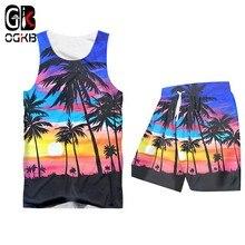 Ogkb masculino terno moda casual novo 2-pic define homem camisa e shorts 3d hawaii impressão praia secagem rápida topo havaiano verão agasalho