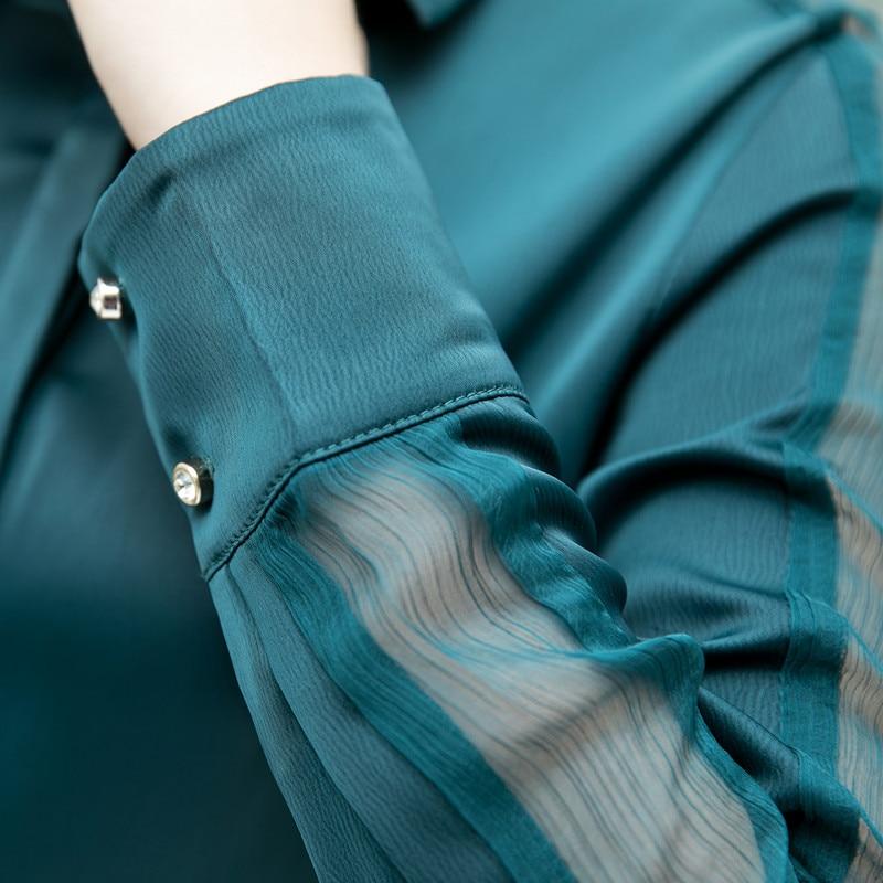 Image 5 - Fashion women shirt 2019 Spring autumn New temperament long sleeve formal slim satin blouses office ladies plus size work topsBlouses & Shirts   -