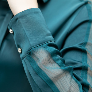 Image 5 - Moda feminina camisa nova primavera outono temperamento manga longa formal magro cetim blusas escritório senhoras plus size trabalho topos