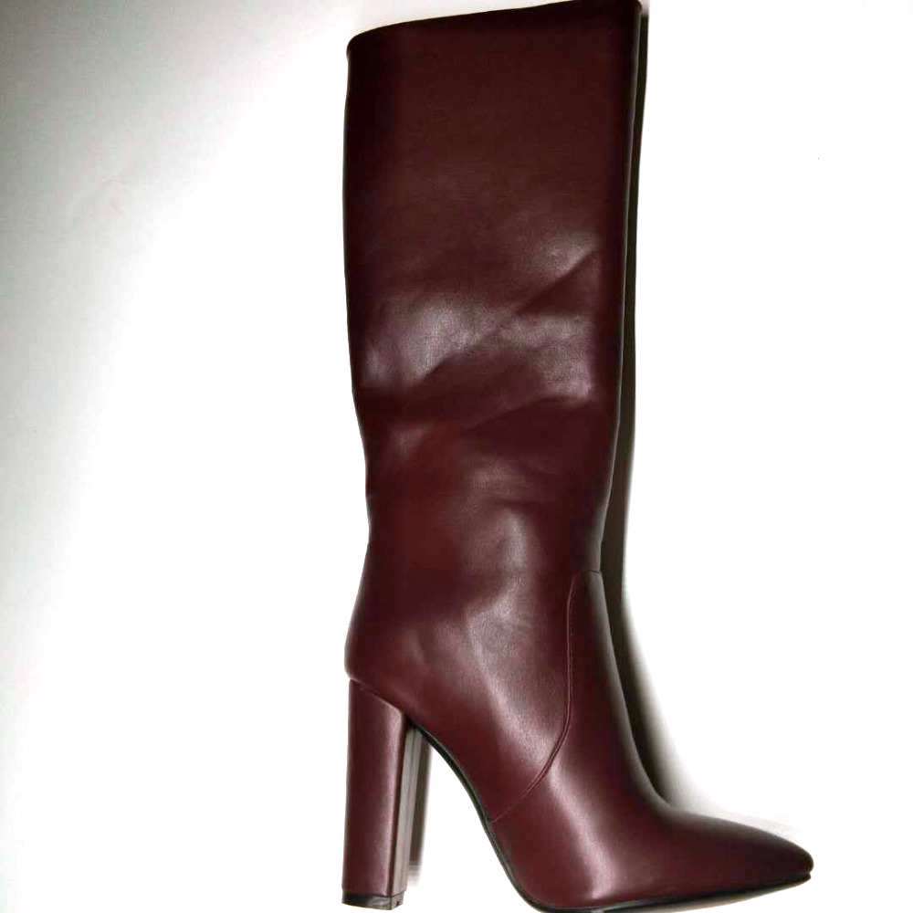Knee boots women sexy pointed toe PU high heel  Block Heels Winter Shoes Full Zipper fashion stree style party dress wine red