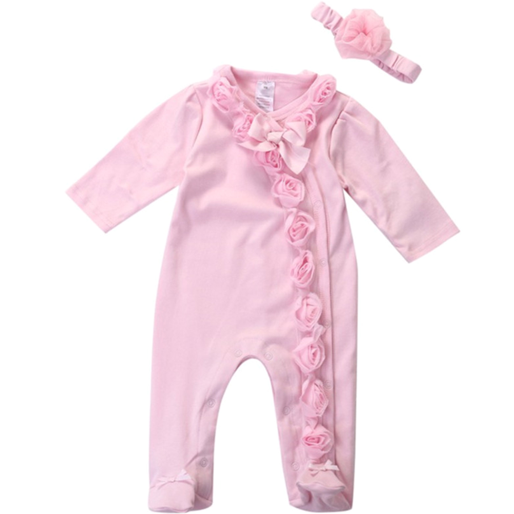 Girl Solid Color Soft Decorative Buttons With Headband Casual Baby Romper Set Lace Flower Cute Bowknot Long Sleeve Lightweight