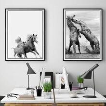 Черно белая Картина на холсте животные настенные художественные