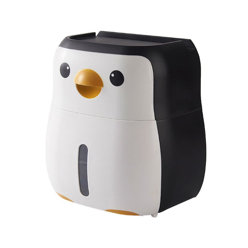Cute Penguin Paper Container Toilet Paper Holder Wall Mounted Tissue Box Shelf