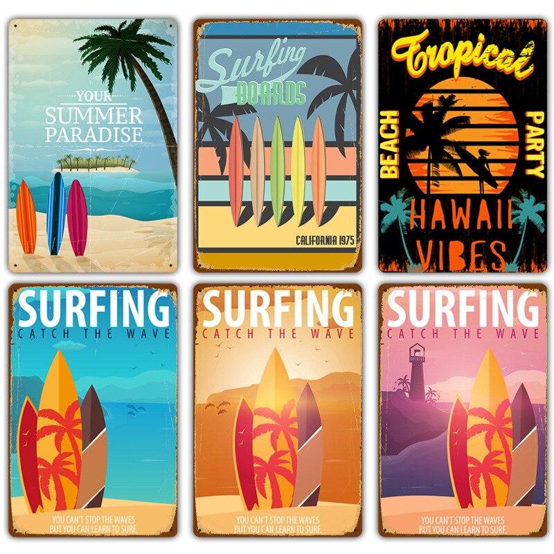 Винтажные Гавайские времени серфинга, металлические жестяные знаки, настенное искусство, живопись, тарелка, постер для пляжа и бара, паба, к...