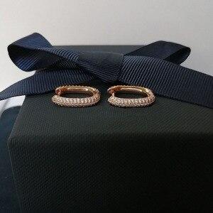 Image 2 - SLJELY boucles doreilles en argent Sterling 925, couleur or Rose, solide, bijou cerceau rectangulaire, zircone, pavé, à la mode, septembre