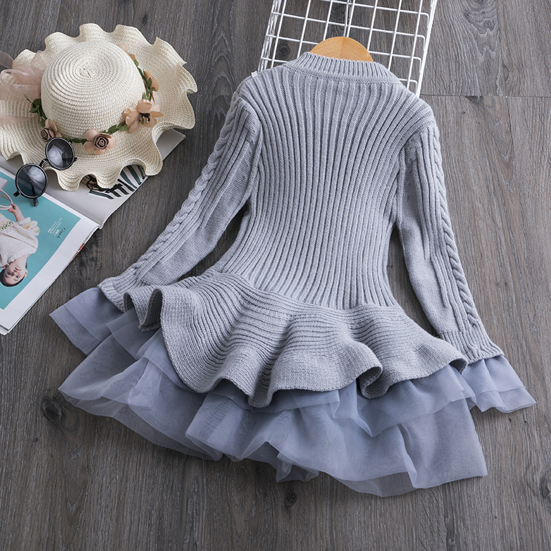 Had15a352fb2f4cdab131eebdfb1942dew 2019 Winter Knitted Chiffon Girl Dress Christmas Party Long Sleeve Children Clothes Kids Dresses For Girls New Year Clothing
