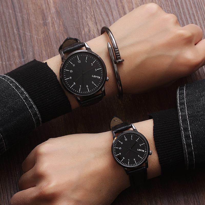 LSVTR Couple Watches High Quality 2019 New Fashion Leather Lover's Watches Gifts For Men Women Pareja Pair Watch No Bangle