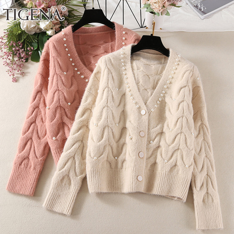 Korean Loose Solid Knitted Cardigan Women ThickenV Neck GreenBluePink Sweater Outwear Tops 2020 Spring Autumn