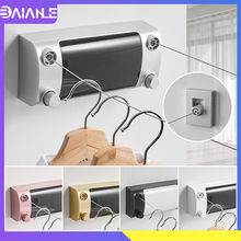 Retractable Clothesline Hanger Indoor Outdoor Drying Rack ABS Plastic Balcony Laundry Dryer Double Wire Rope