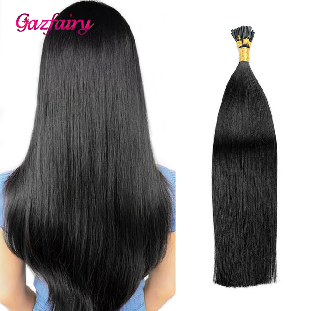 Gazfairy I Tip Human Hair 100% Real Remy Fusion Hair Extensions 16 Inch 1g/s 50-100g Natural Color Pre Bonded Keratin Hairpieces