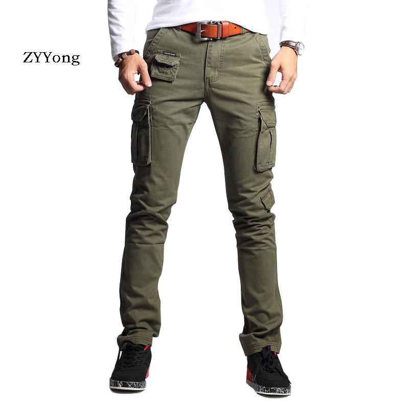 ZYYong New Men's Fashion Military Pants Slim Regualr Straight Cotton Multicolor Camouflage Green Yellow Overalls Men's Trousers