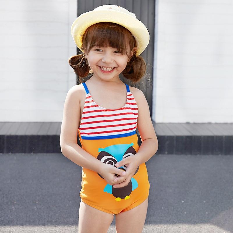 New Style Children One-piece Bikini Medium-small Girls Camisole Cross Backless Cute Cartoon Owl Students Bathing Suit